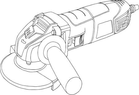 Handheld, power circular saw, angle grinder illustration. Vettoriali