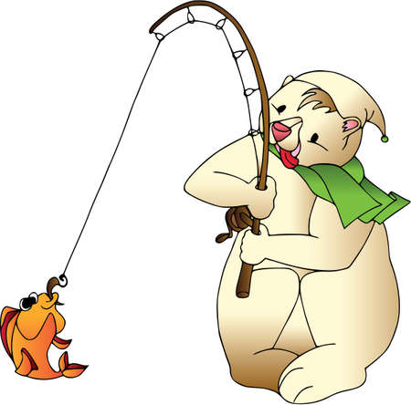 Funny bear with fish in Cartoon characters, isolated, wildlife illustration.