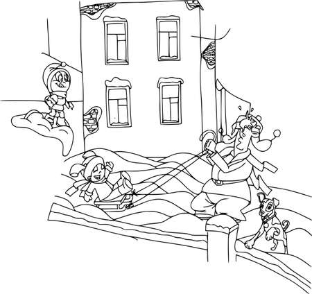 Kids playing, winter games, parent with childrens, happy family. Cartoon characters, coloring outline, people, holidays.
