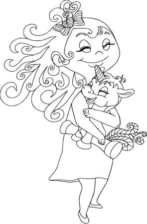 Girl hugging a unicorn. Cartoon characters isolated on white, coloring outline.