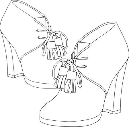 Footwear for women, contour set on white background. Ankle boots, objects, fashion, isolated. Illustration