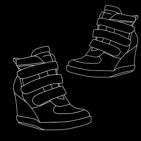 Footwear for women on black background - contour set - wedge booties. Objects, fashion, isolated, contour, coloring outline