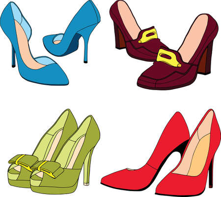 Ladies shoes colored set. Isolated, fashion, white background