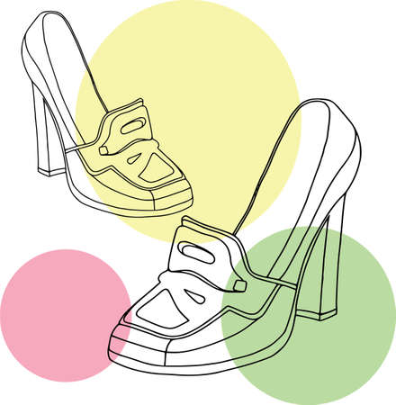 Ladies shoes bubble set - loafer. Coloring outline, colored, fashion, white background Illustration