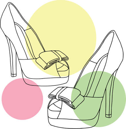 Ladies shoes bubble set - peep toe. Coloring outline, colored, fashion, white background Illustration