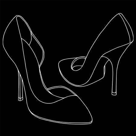 Ladies shoes white contour set - stilette. Coloring outline, fashion, black background. Illustration