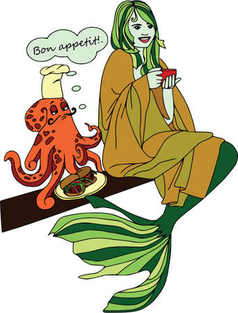 Octopus cooking for mermaid, bon appetit. Cartoon characters, et.