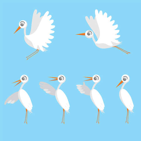 Set of birds, stork. Cute birds. Cartoon characters, isolated on blue background, flat style