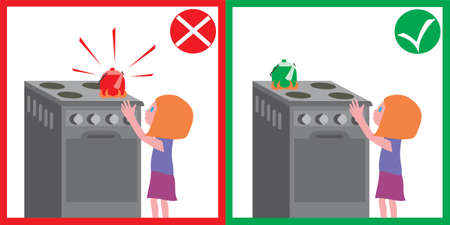 Child safety, child and lighted plate, hot kettle. Security, parenting, flat style, card, poster.