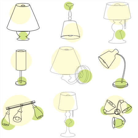 Household objects, lamps and fixtures. Isolated on white background, set, contour, transparent. Set.  イラスト・ベクター素材