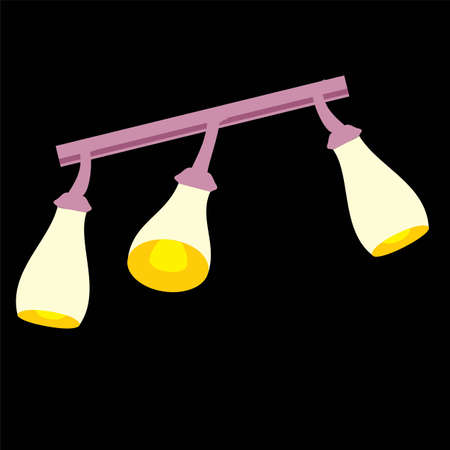 Household objects, lamps and fixtures. Isolated on black background, set, flat style. Three yellow shades
