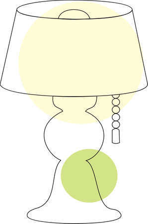 Household objects, lamps and fixtures. Isolated on white background, set, flat style. Table lamp with switch.