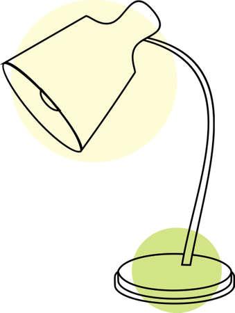 Oggetti per la casa, lampade e infissi. Isolato su sfondo bianco, impostare, stile piatto. Lampada da tavolo senza interruttore. Vettoriali