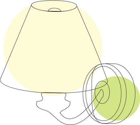 Household objects, lamps and fixtures. Isolated on white background, set, flat style. Brace Illustration