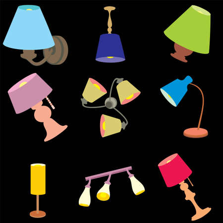 Household objects, lamps and fixtures. Isolated on black background, set, flat style Stock Photo