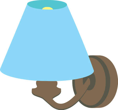 Household, interior object icons, colored set isolated on white background. Blue shade brace. Illustration
