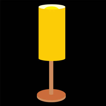 Household objects, lamps and fixtures. Isolated on black background, set, flat style. Table lamp with yellow shade