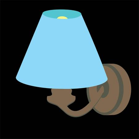 Household objects, lamps and fixtures. Isolated on black background, set, flat style. Blue shade