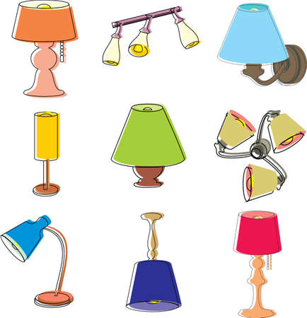 Household, interior object icons, set isolated on white background. Contour illustration, colored.
