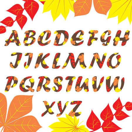 Autumn pattern alphabet. Set of letters, isolated on white, full set.