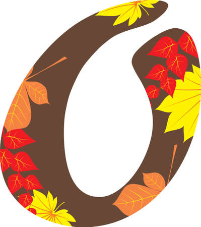 Autumn pattern alphabet. Set of letters, isolated on white. Letter O.