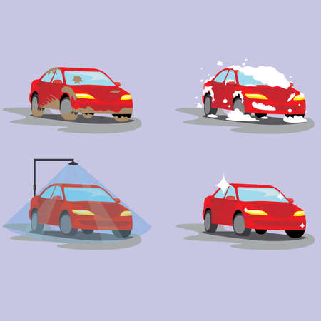 Washing dirty car, set of icons. Steps of cleaning cars from muddy dust to clean and shiny red. Automobile vector illustration isolated flat sign set. Vetores