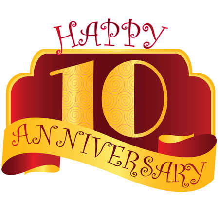 Anniversary emblems with decorated numbers. Creative vector layout for invitation and greeting card. Ten