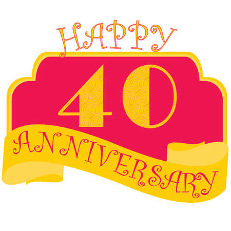 Anniversary flat style emblems with decorated numbers. Creative vector layout for invitation and greeting card. Forty years