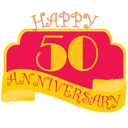 Anniversary flat style emblems with decorated numbers. Creative vector layout for invitation and greeting card. Fifty years