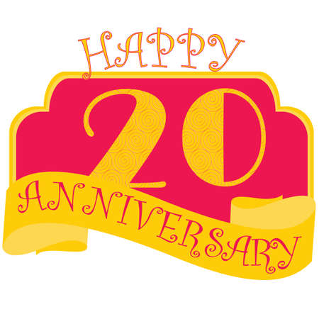 Anniversary flat style emblems with decorated numbers. Creative vector layout for invitation and greeting card. Twenty years
