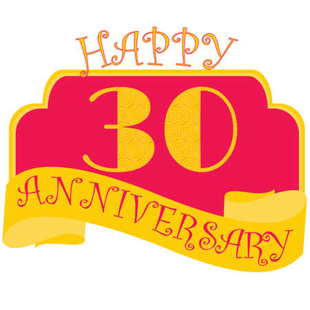 Anniversary flat style emblems with decorated numbers. Creative vector layout for invitation and greeting card. Thirty years  イラスト・ベクター素材