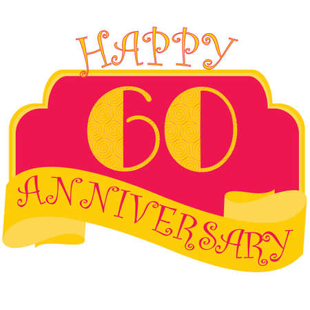 Anniversary flat style emblems with decorated numbers. Creative vector layout for invitation and greeting card. Sixty years