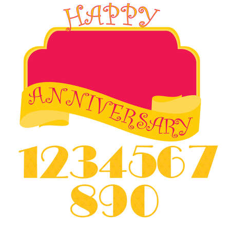 Anniversary flat style emblems with decorated numbers. Creative vector layout for invitation and greeting card. Set with numbers