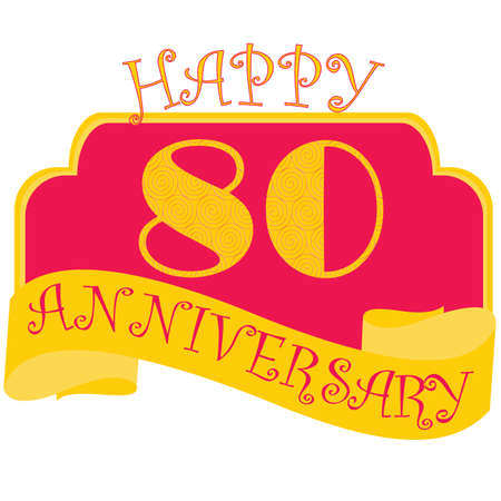 Anniversary flat style emblems with decorated numbers. Creative vector layout for invitation and greeting card. Eighty years  イラスト・ベクター素材