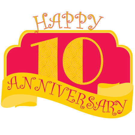 Anniversary flat style emblems with decorated numbers. Creative vector layout for invitation and greeting card. Ten years