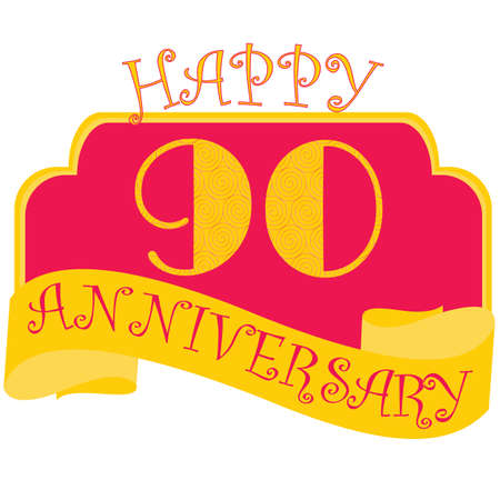 Anniversary flat style emblems with decorated numbers. Creative vector layout for invitation and greeting card. Ninty years