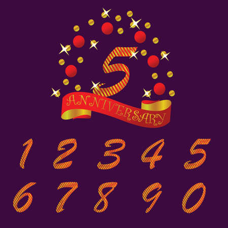 Anniversary shiny emblem with set of decorated numbers. Creative vector layout for invitation and greeting card Stock Photo