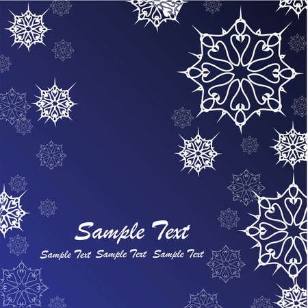 White snowflales on blue gradient background. Winter snow border, frost snowflake and christmas blizzard snow greeting card. Holiday vector design