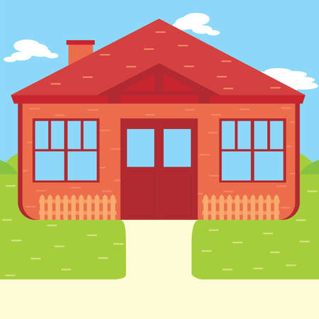 Suburban house, vector flat illustration. Front view flat cartoon residential homes icons. Little one without garden.