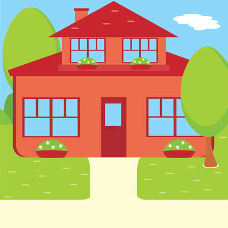 Suburban house, vector flat illustration. Front view flat cartoon residential homes icons. House with attic. Stock Illustratie