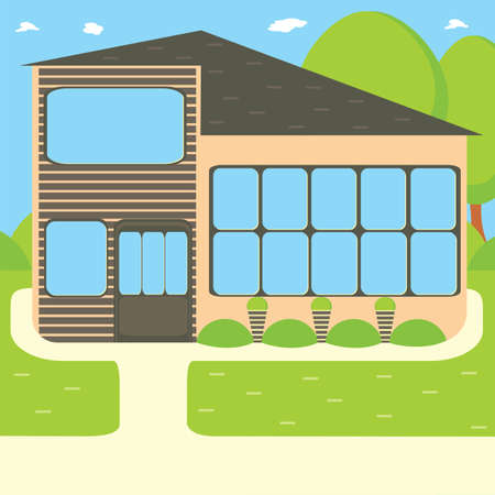 Suburban house, vector flat illustration. Front view flat cartoon residential homes icons, modern city architecture