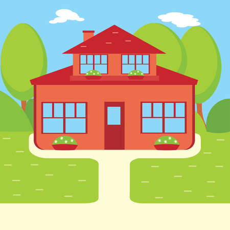 Suburban house, vector flat illustration. Front view flat cartoon residential homes icons. House with attic in garden