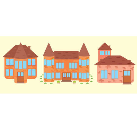 Suburban house, vector flat illustration. Front view flat cartoon residential homes icons, set of three old pieces