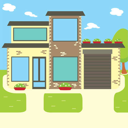 Suburban house, vector flat illustration. Front view flat cartoon residential homes icons, modern architecture Stock Photo
