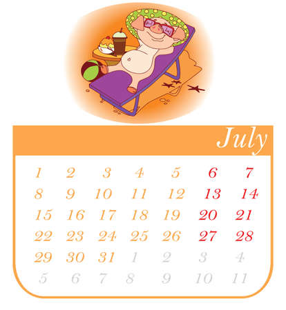 Stylized hand-drawn monthly 2019 calendar with funny pigs. Cartoon characters, template, design calendar planner pages, vector layout. July  イラスト・ベクター素材