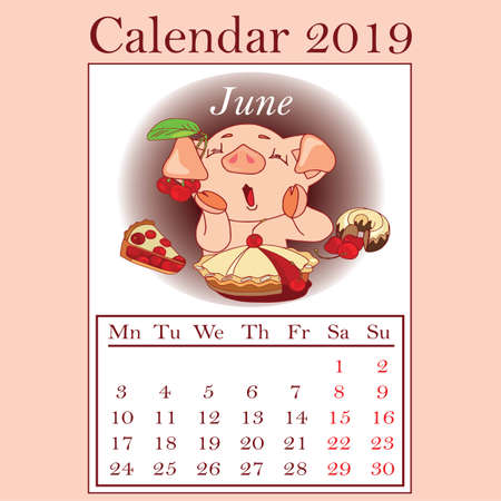 Stylized hand-drawn monthly 2019 calendar with funny pigs. Cartoon characters, template, design calendar planner pages, vector layout  イラスト・ベクター素材