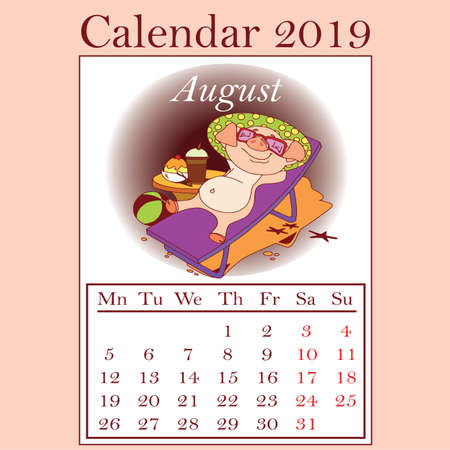 Stylized hand-drawn monthly 2019 calendar with funny pigs. Cartoon characters, template, design calendar planner pages, vector layout.