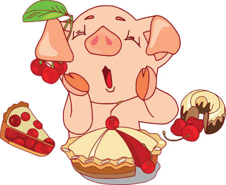 Cartoon pig set. Funny pig icons and action, cute animal poses vector isolated symbol illustration. Summer mood, sweets and glutton.