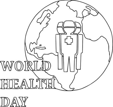 Health day. Wellness, health protection and global medicine healthcare poster, vector illustration, doctors
