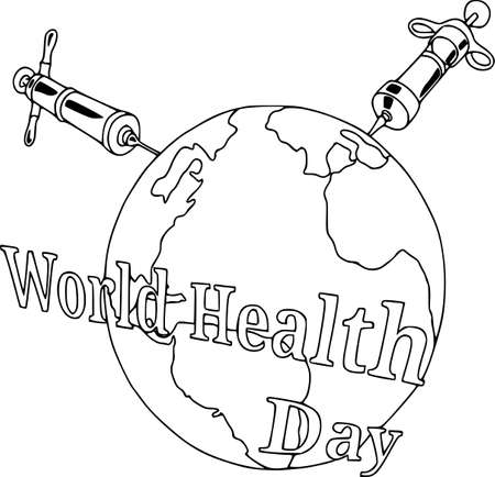 Health day. Wellness, health protection and global medicine healthcare poster, vector illustration, syringes